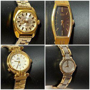 Women's Fashion Wrist Watches Lot of 4 Gold Tone
